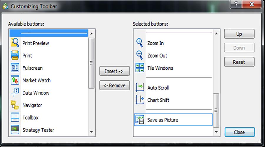 گزینه customize در متاتریدر 5