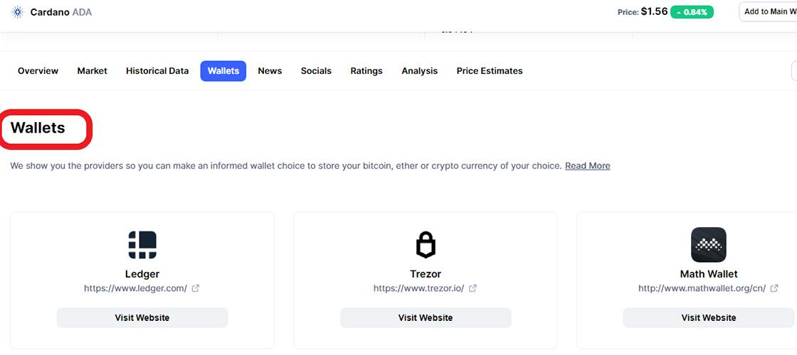 Wallet های رمز ارزها در سایتCoinmarketcap